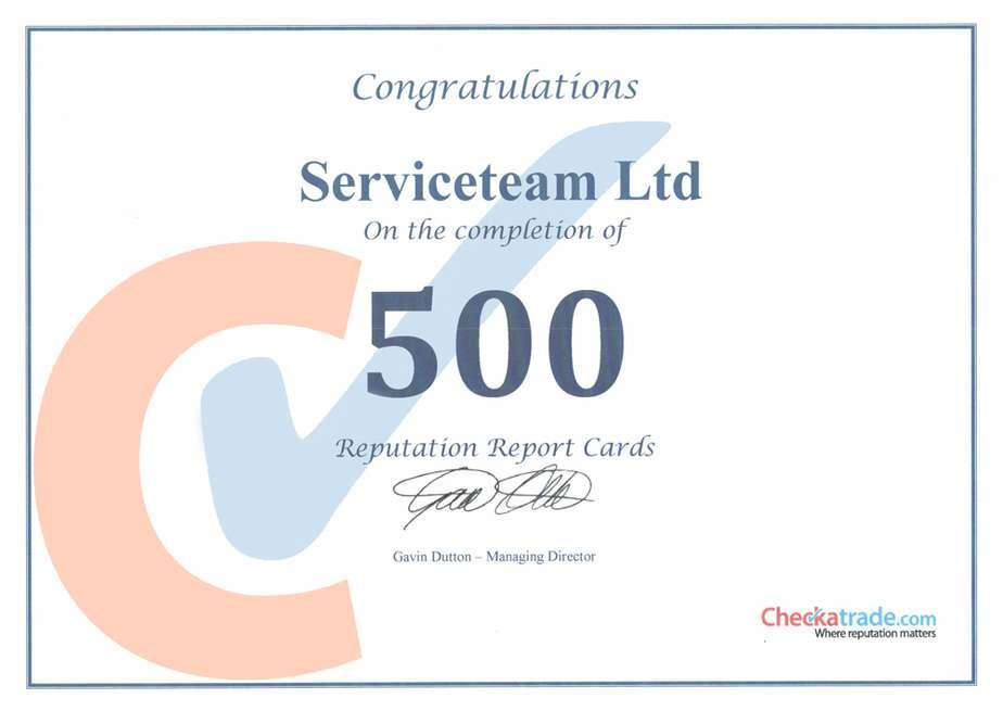 Serviceteam reaches 500 Reviews with Checkatrade