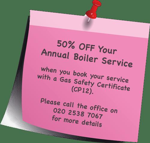 50% Annual Boiler Service off
